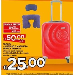 Offerta per Trolley + cuscino e machera Monky fashion a 25€