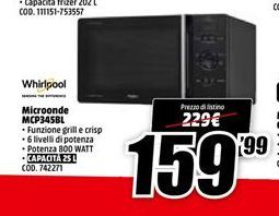 Offerta per Microonde giocattolo Whirlpool a 159.99€