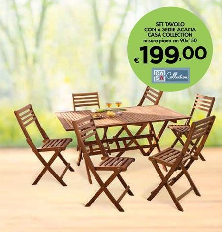 Offerta per Set tavolo con 6 sedie acacia casa collection a 199€