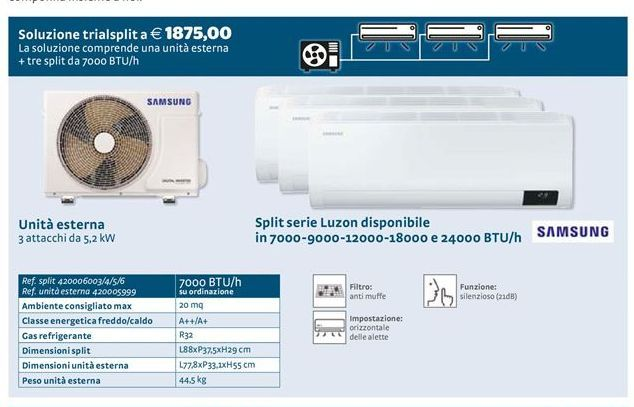 Offerta per Split serie luzon disponible in 7000-9000-12000-18000 e 24000 BTU/h a 1875€