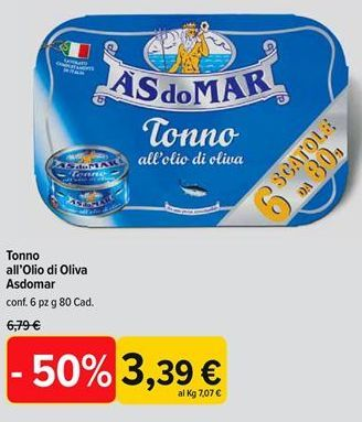 Offerta per Tonno in olio d'oliva Às do Mar a 3,39€