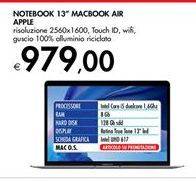 Offerta per Notebook 13'' MacBook Air Apple a 979€