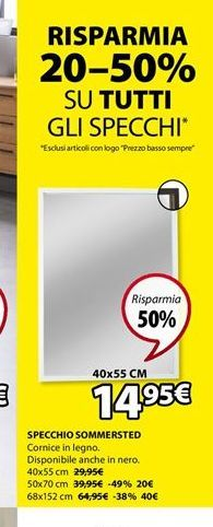 Offerta per Specchio Sommersted (40x55, bianco) a 14,95€