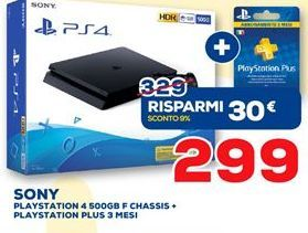 Offerta per Playstation 4 500GB F Chassis + PLAYSTATION PLUS 3 MESI Sony a 299€