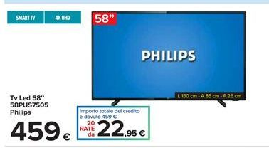 "Offerta per Tv led 58"" S8PUS7505 Philips a 459€"