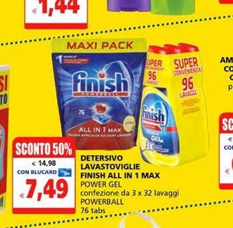 Offerta per Detersivo lavastoviglie finish all in 1 max Finish a 7,49€