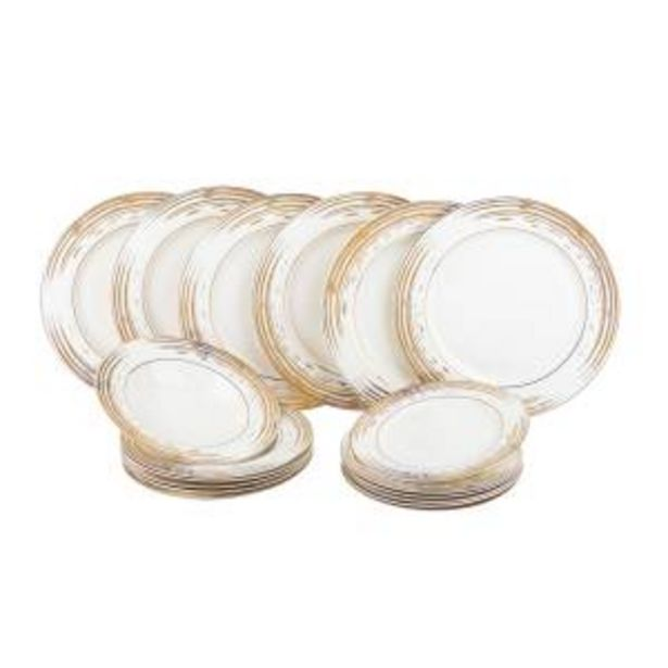Offerta per SET PIATTI DECORO DORATO IN NEW BONE CHINA, DA 18 PEZZI a 79,9€