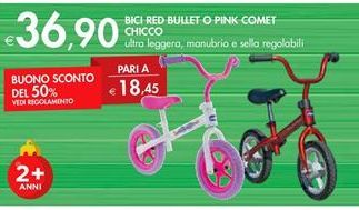 Offerta per Bici Red Bullet o Pink Comet Chicco a 36,9€