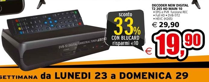Offerta per Decoder new digital t2 265 HD main 10 a 19,9€
