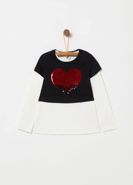 Offerta per T-shirt in cotone stretch paillettes cuore a 8€