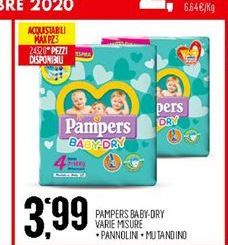 Offerta per Pampers Baby dry varie misure a 3,99€