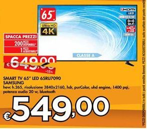 "Offerta per Smart TV 65"" LED 65RU7090 Samsung a 549€"