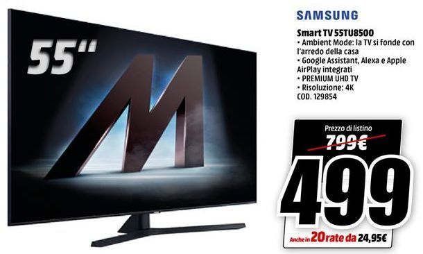 Offerta per Smart tv led 55'' Samsung a 499€