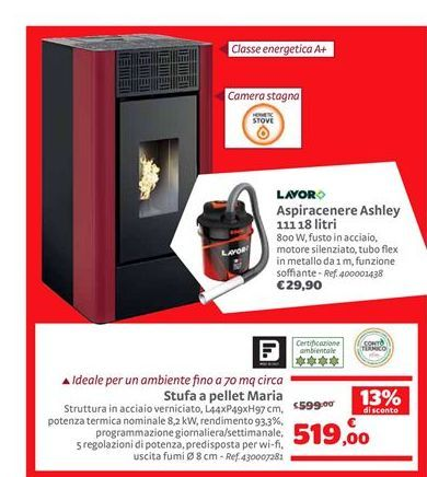 Offerta per Aspiracenere ashley 111 18 litri Lavor a 519€