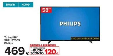 "Offerta per Tv Led 58"" 58PUS7505 Philips a 469€"