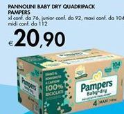Offerta per PANNOLINI BABY DRY QUADRIPACK PAMPERS a 20,9€