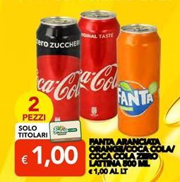 Offerta per Fanta Aranciata Orange/Coca Cola/Coca Cola Zero Lattina 500 ML a 1€