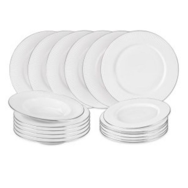 Offerta per SET PIATTI CROWN IN NEW BONE CHINA, 18 PEZZI a 89,9€
