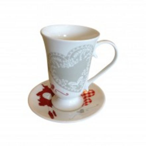 Offerta per Tazzina con Piattino Romantic Expres Cuore Bone China a 4,9€