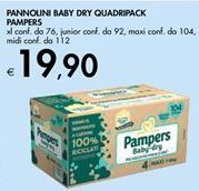 Offerta per PANNOLINI BABY DRY QUADRIPACK PAMPERS  a 19,9€