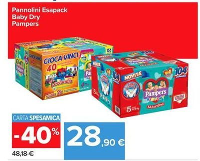 Offerta per Pannolini esapack baby dry Pampers a 28,9€