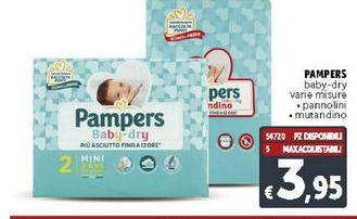 Offerta per Pampers baby dry varie misure a 3,95€