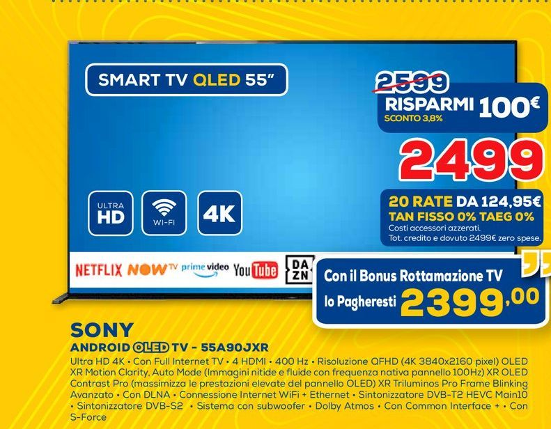Offerta per Android oled tv led 55A90JXR Sony a 2499€