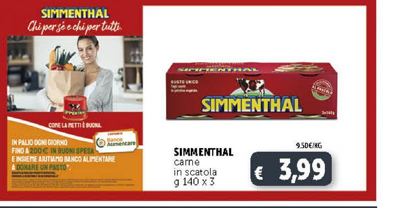 Offerta per SIMMENTHAL carne in scatola g 140 x3 a 3,99€
